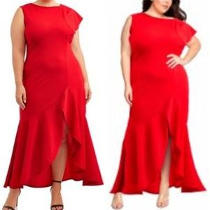 Holiday Party Women's Plus Size Split Dress Red